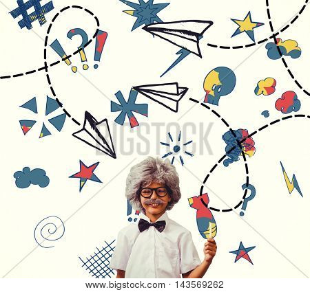 Pupil dressed up in wig against paper airplane graphic