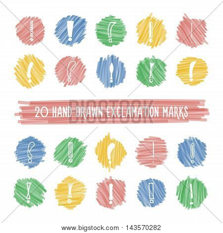 Set of different hand drawn exclamation marks on colorful bright highlight spots. Vector icons collection of marker circles with sketches of elements.