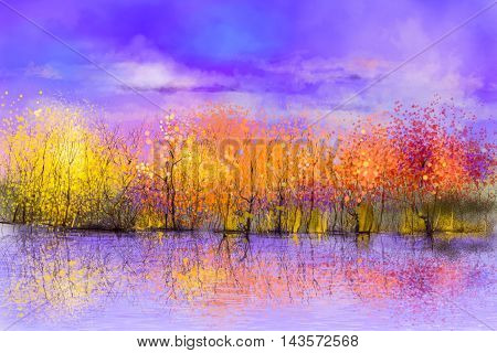 Oil painting landscape - colorful autumn trees. Semi abstract image of forest trees with yellow red leaf and lake. Autumn Fall season nature background. Hand Painted landscape Impressionist style