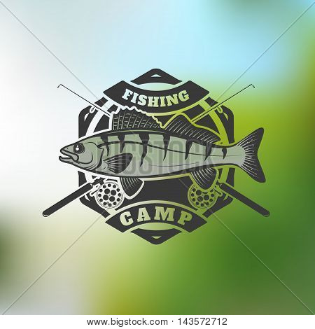 fishing camp emblem template on colorful background. Pike perch fish with two crossed fishing rods. Vector illustration.