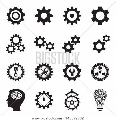 Cogwheel (gear) icons. Collection of symbols - the setting for web sites and applications, repair and maintenance, transmission etc. Vector illustration