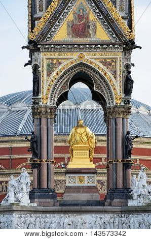 Albert memorial from rear with Albert Hall concert venue
