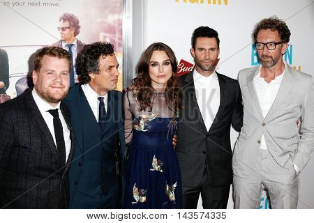 NEW YORK-JUNE 25: (L-R) James Corden, Mark Ruffalo, Keira Knightly, Adam Levine and John Carney attend the New York premiere