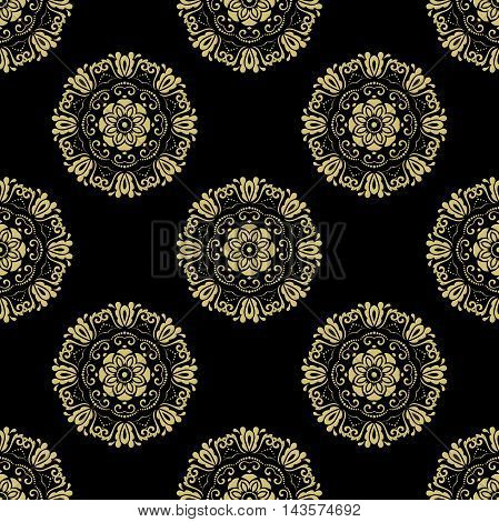 Damask vector classic black and golden pattern. Seamless abstract background with repeating elements