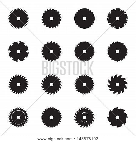 Circular saw blade icons isolated on a white background. Vector illustration
