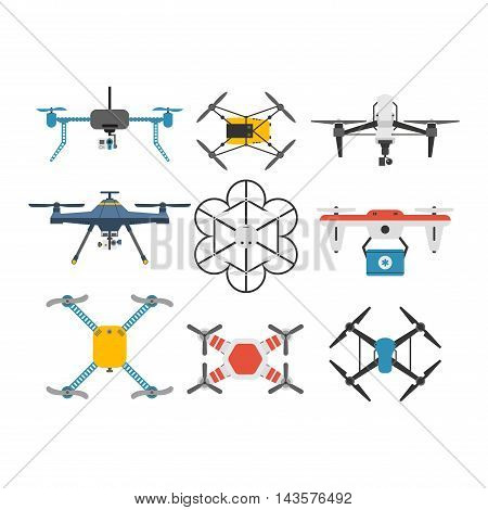 Vector illustration aerial vehicle drone quadcopters surveillance unmanned innovation.