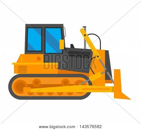 Vector excavator isolated on white background. Vector excavator vehicle silhouette. Under construction truck excavator