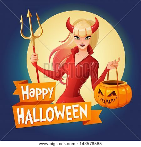Halloween card. Sexy blond lady in glossy red Halloween costume of a devil with horns and trident holding jack-o -lantern pumpkin basket. Cartoon style vector illustration on dark background.