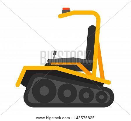 Vector forklift loader logistics delivery, transportation forklift trendy flat illustration. Forklift transport loader car, operator loaded, forklift isolated vector