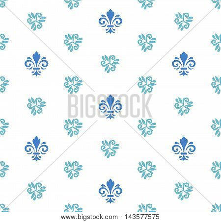 Seamless vector blue and white ornament. Modern geometric pattern with royal lilies