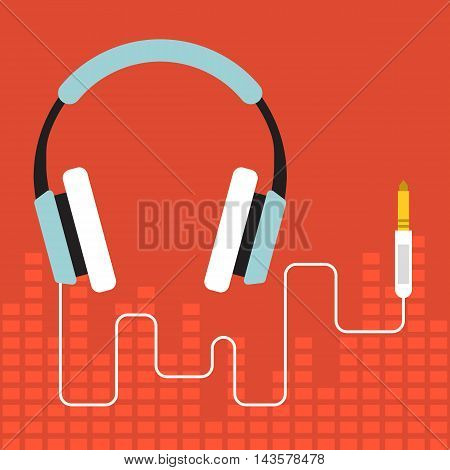 Vector headphone, flat design on red background