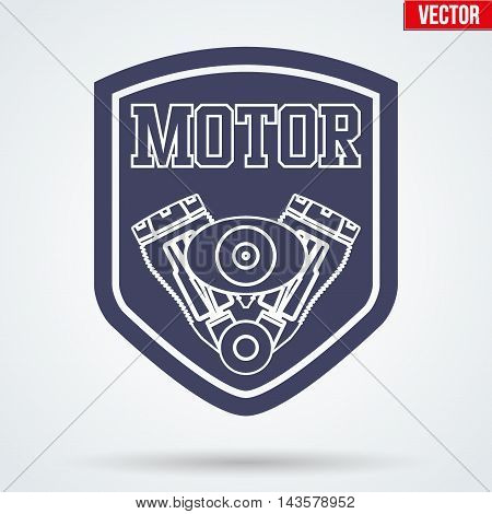 Vintage Motor Service Signs and Label with tags and pistons. Emblem of car technical support. Editable Vector illustration Isolated on background.
