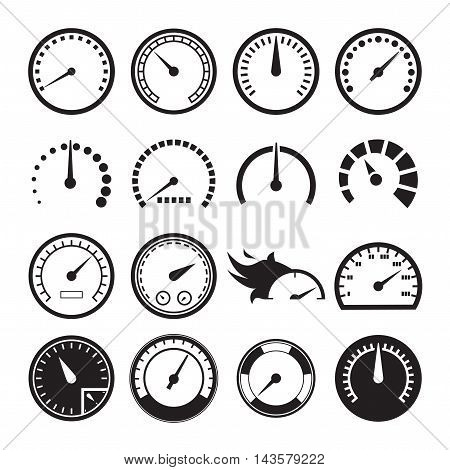 Set of speedometers icons iolated on a white background. Vector illustration