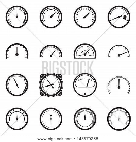 Set of tachometer icons isolated on a white background. Vector illustration
