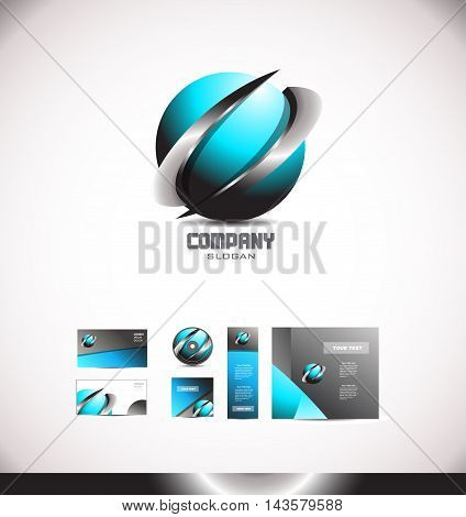 Abstract 3d metal swoosh logo media games corporate sphere