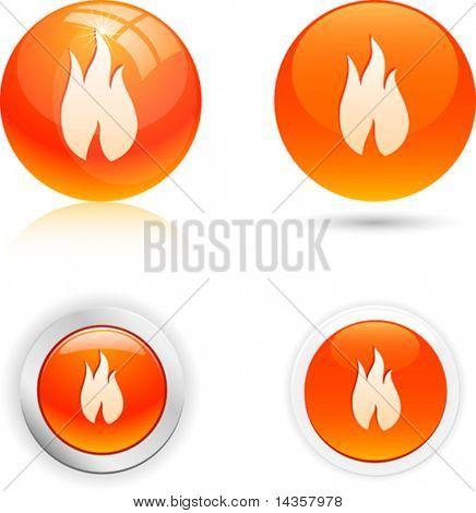 Ícones de chama bonita. Ilustração vetorial.