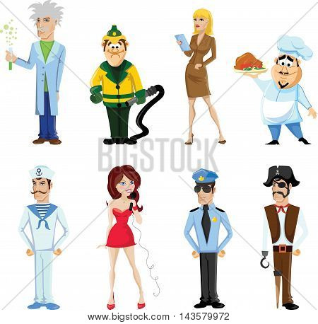Cartoon vector cute characters of different professions