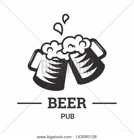 Beer insignia logo with glassware isolated on white background. Beer mug. Vintage ale and lager emblem for brewery. Vector elements for label or badge design. EPS vector illustration.