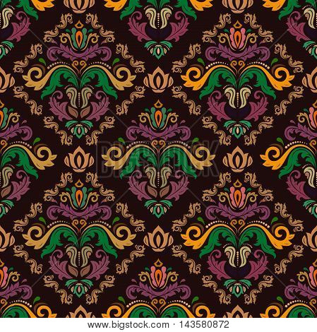 Damask vector classic colorful pattern. Seamless abstract background with repeating elements