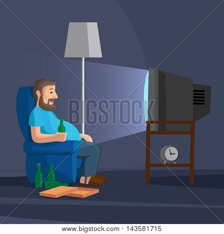 Cartoon Man Watching TV with bottle of beer vector illustration