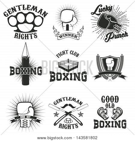 Set of the boxing club labels emblems and design elements. Vector illustration.