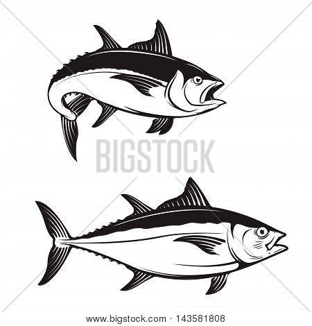 Tuna fish icons on white background. Vector illustration.