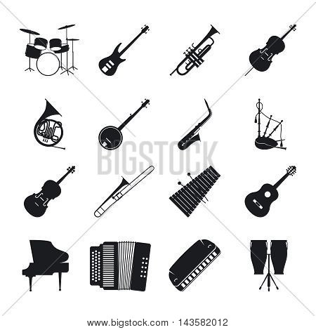 Musical instrument silhouettes for jazz music vector icons set
