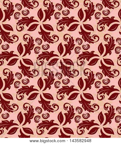 Floral vector red ornament. Seamless abstract classic pattern with flowers