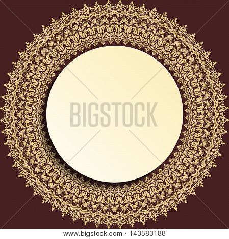 Nice vector frame with floral elements and arabesques. Fine greeting card. Brown and golden pattern