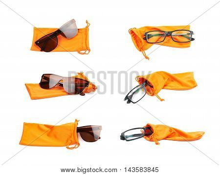 Pair of glasses and protective orange pouch bag with the drawstrings, composition isolated over the white background, set of six different foreshortenings