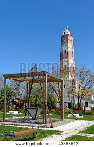 Cape of Shabla-the oldest lighthouse in Bulgaria and the new recreation park close to the seashore with wooden cubes and iron pyramids.
