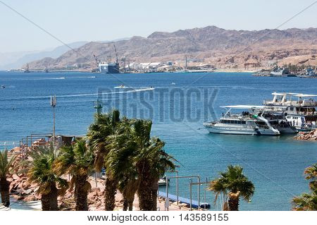 View to the city Eilat bay and the red mountains Israel