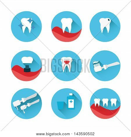 Flat style vector dental icons set on colorful web buttons showing a dentist examination caries implant toothbrush antibiotics crown filling x-ray braces and equipment