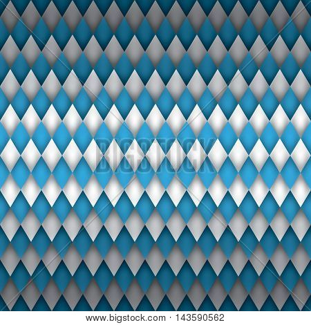 Oktoberfest beer festival background, blue and white wallpaper, volume rhombus vector pattern