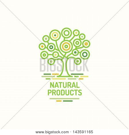 Tree symbol, natural product, green tree icon, template for bio logo, tree vector design