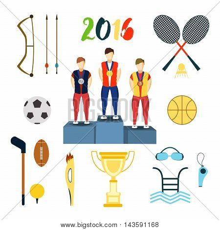 Rio summer olympic games icons vector illustration. Rio summer olympic games icons isolated on white background. Rio summer olympic games icons vector icons.