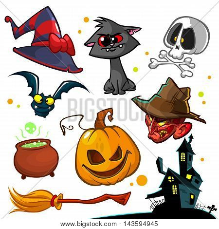Vector set of Halloween pumpkin and attributes icons. Witch cat pumpkin head skull witch hat poisonpot broomstick and haunted house