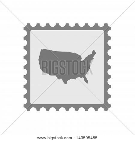 Isolated Mail Stamp Icon With  A Map Of The Usa