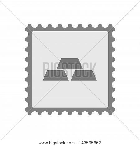 Isolated Mail Stamp Icon With Three Gold Bullions