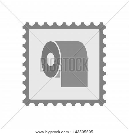 Isolated Mail Stamp Icon With A Toilet Paper Roll