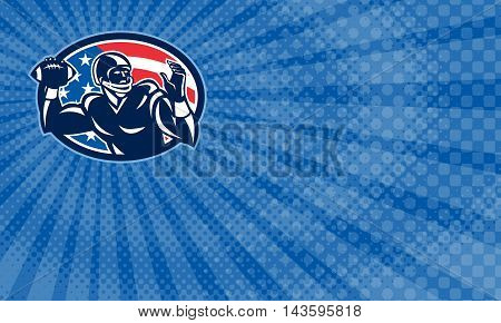 Business card showing Illustration of an american football gridiron quarterback QB player throwing ball facing side set inside oval with USA stars and stripes flag done in retro style.