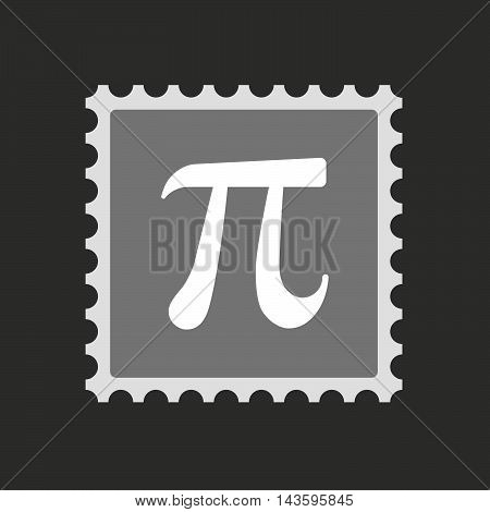 Isolated Mail Stamp Icon With The Number Pi Symbol