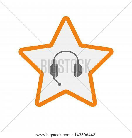 Isolated Line Art Star Icon With  A Hands Free Phone Device