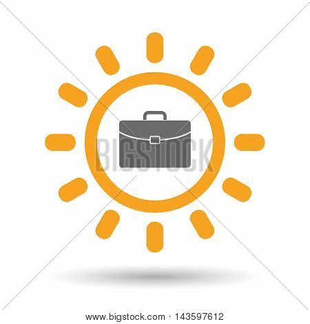 Isolated Line Art Sun Icon With  A Briefcase