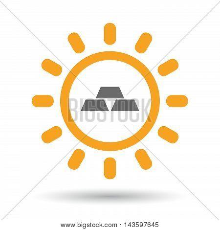 Isolated Line Art Sun Icon With Three Gold Bullions