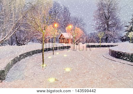 Winter nature with frosted winter trees. Winter landscape with snowflakes. Winter with falling snow. Winter night landscape - house among the illuminated winter frosty trees. Winter night in the city.
