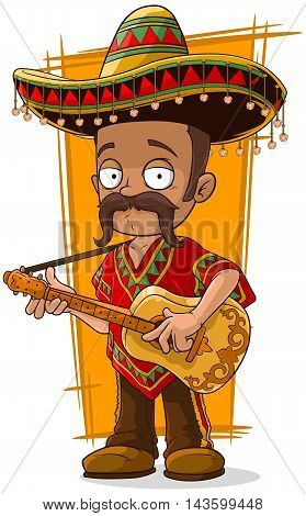 A vector illustration of cartoon mexican in sombrero with guitar