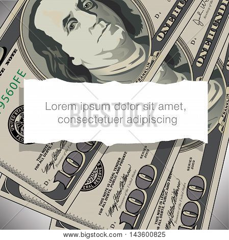 A 100 dollar bill design with white space for text