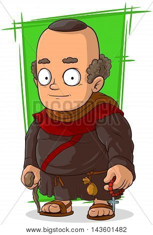 A vector illustration of cartoon old standing monk