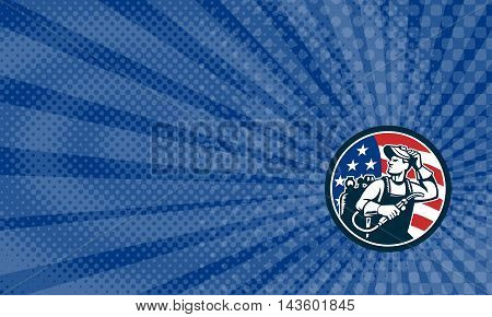 Business card showing Illustration of a welder rod-holder with cable and electrode for electric arc welding and welder visor mask looking to the side with usa american stars and stripes flag in the background set inside circle done in retro style.